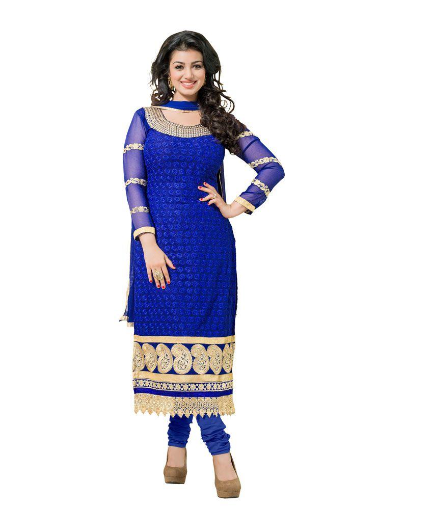 Blissta Blue Georgette Dress Material