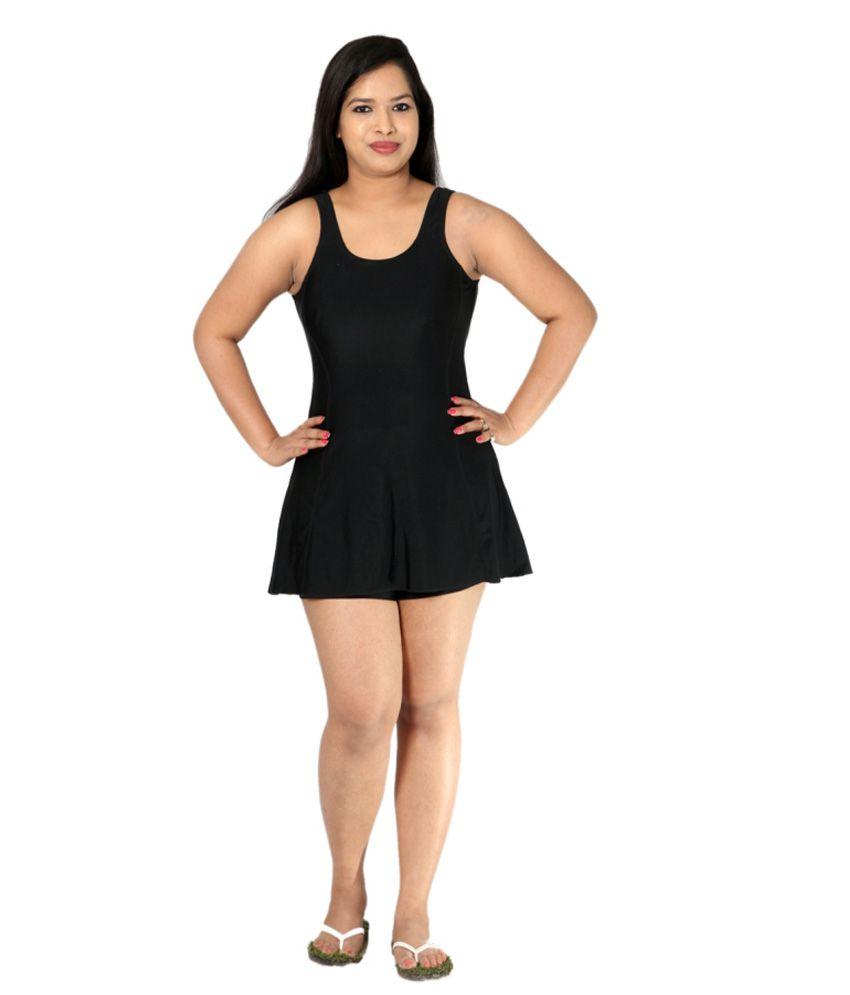 Indraprastha Plain Black Swimsuit/ Swimming Costume