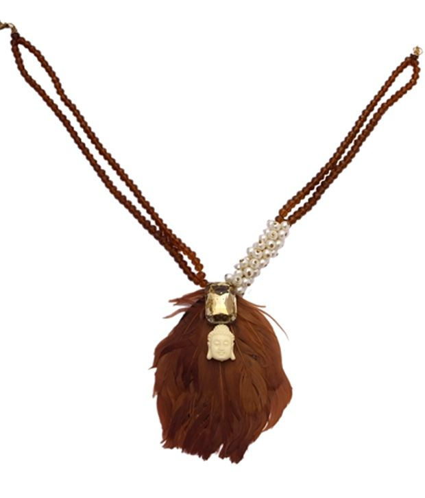Rejuvenate Jewels Crystal & Buddha With Pearls And Brown Feather Necklace