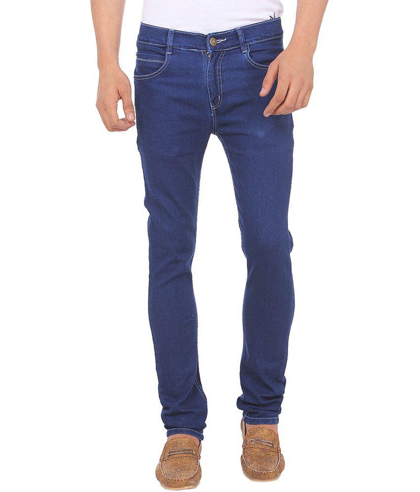 Savon Blue Cotton Faded Jeans for Men