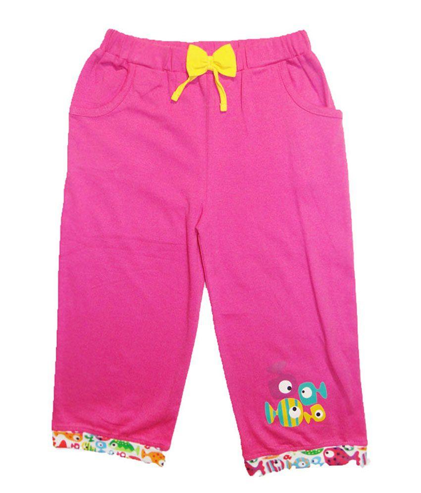 Kidstudio Pink Cotton Solids Capris