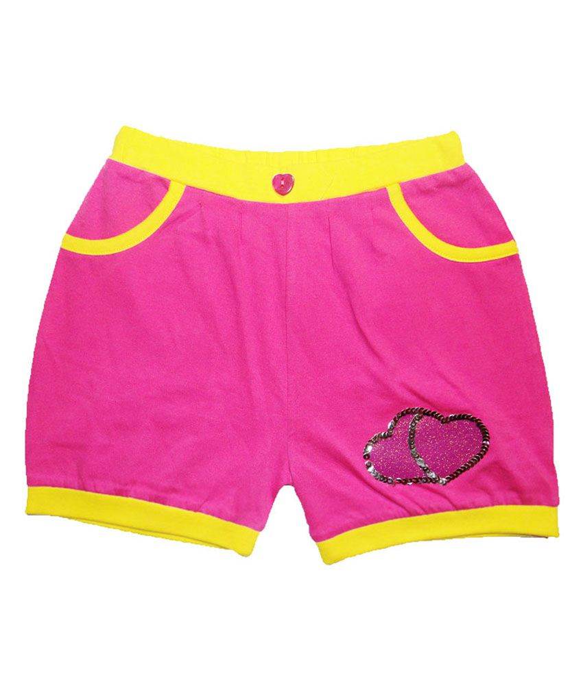 Kidstudio Pink Cotton Solids Shorts