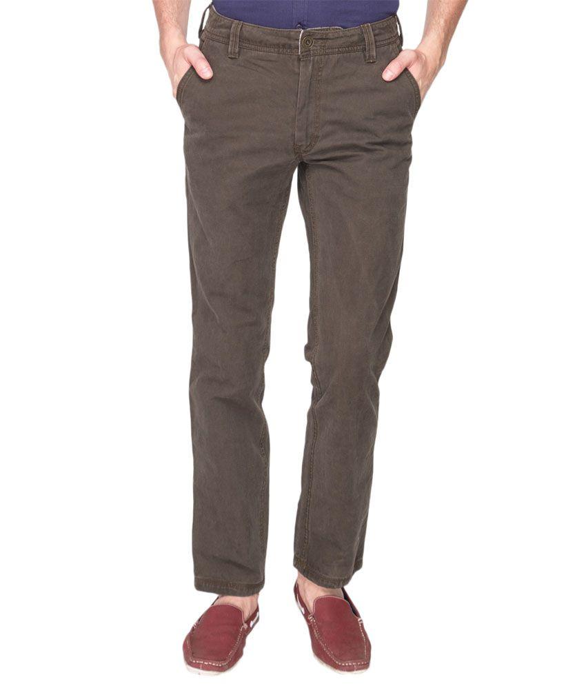 Identiti Green Cotton Slim Fit Casual Trousers