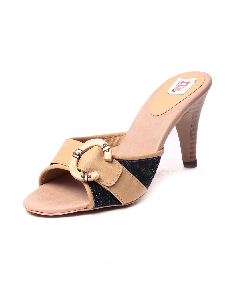 Pandora 15 Beige High Heel Peep Toe Back Open Faux Leather Women's Footwear