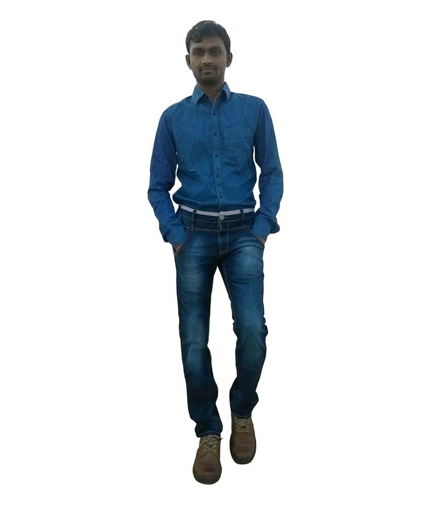 Tianzhu Blue Cotton Blend Slim Jeans for Men's