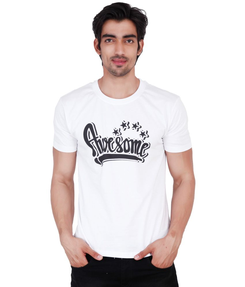 Change360 White Cotton Awesome Chest Print T Shirt