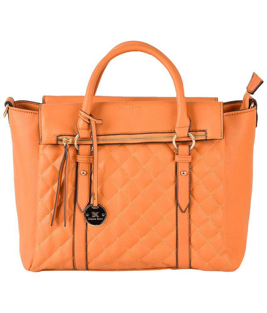 Diana Korr Orange Faux Leather Satchel Bag - Buy Diana Korr Orange ...