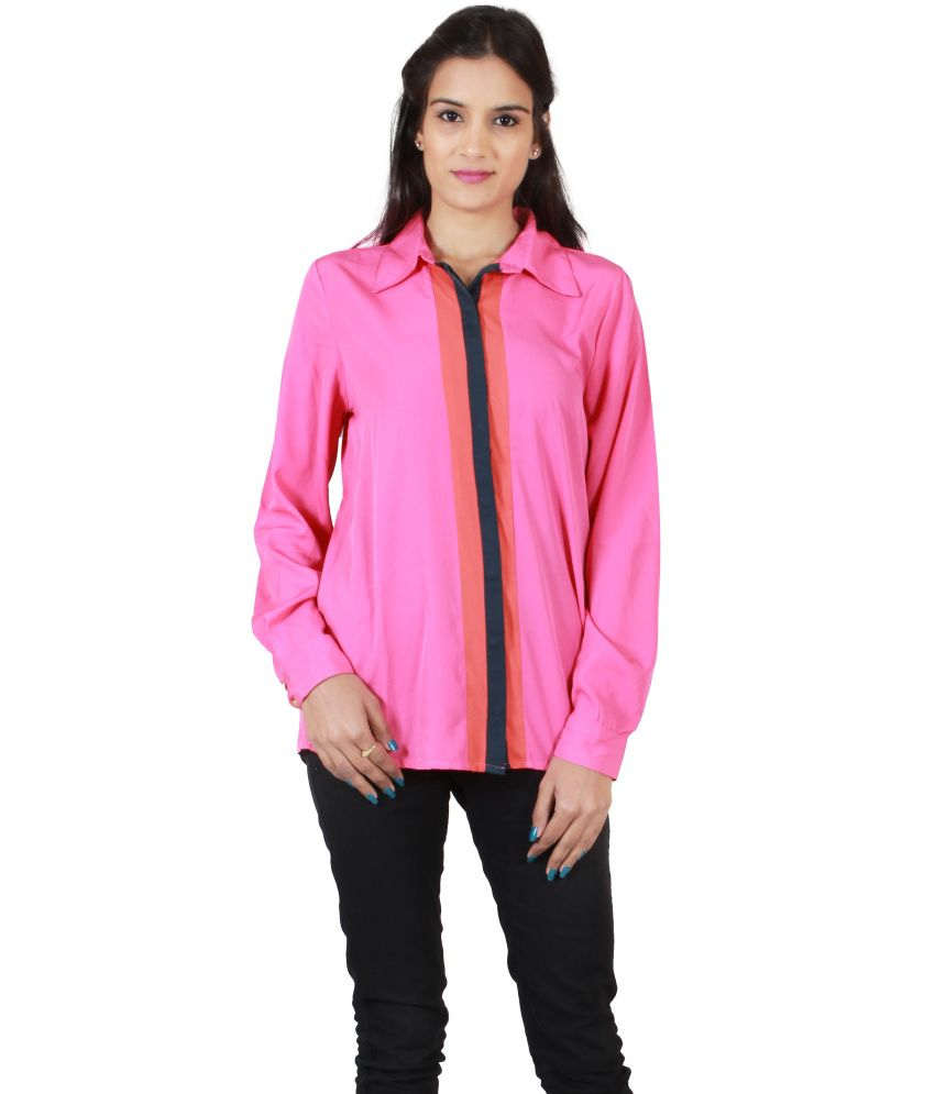 Hargur Pink Poly Crepe Shirts