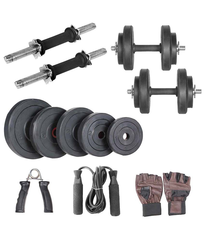 Livestrong kg home gym combo of adjustable rubber weight plate