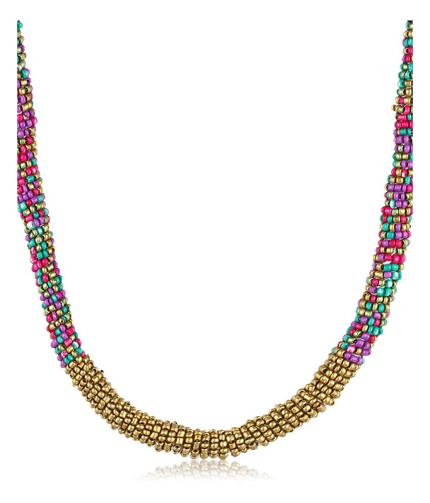 Moedbuille Exotic MultiLayer Patterned Necklace