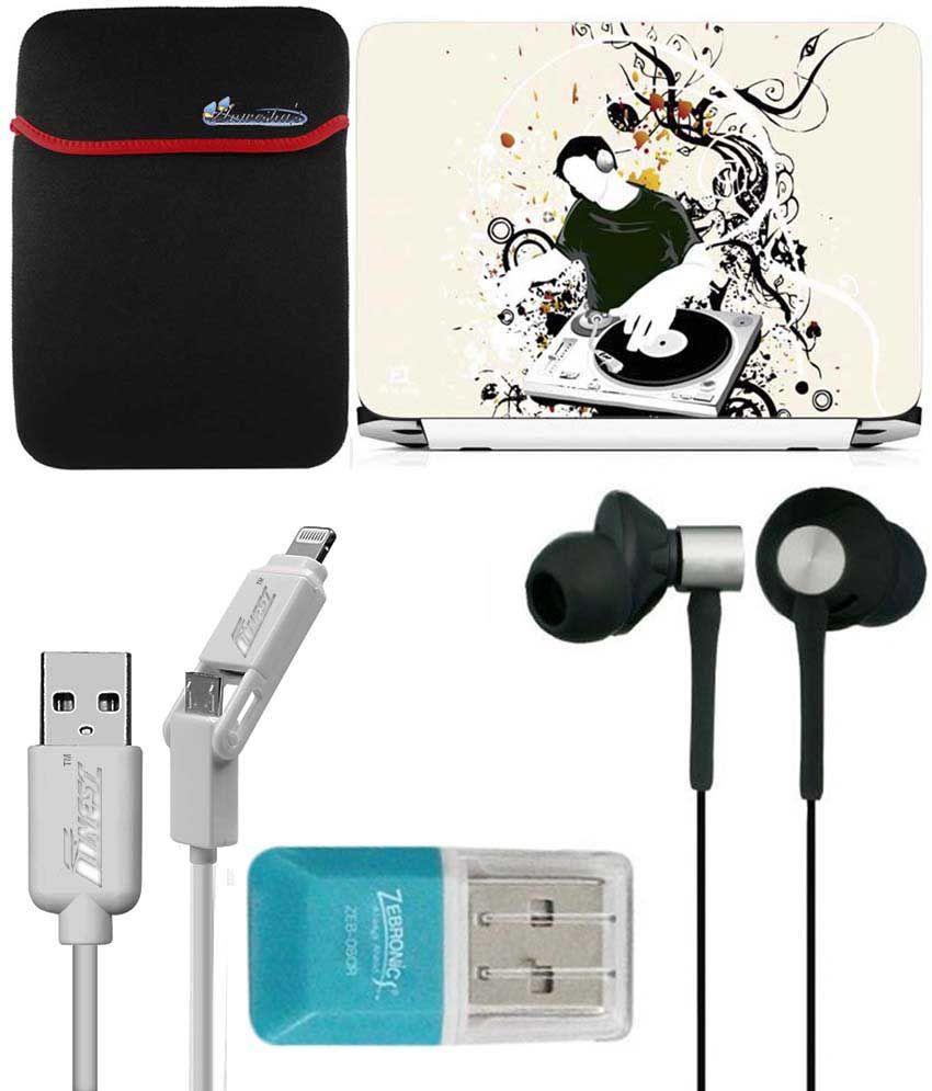 Anwesha's Laptop Sleeve With Lightning & Micro Usb Cable, Ubon Ub-85 Earphone, Card Reader And Laptop Skin - Dj Boy