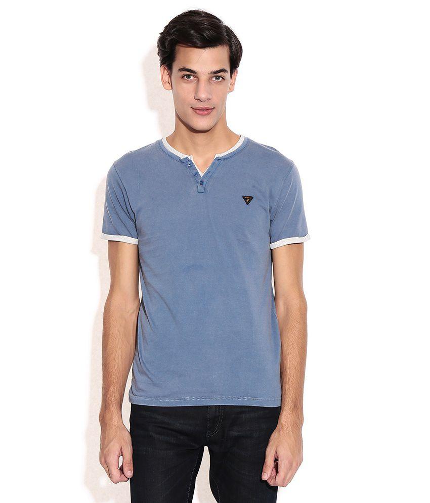 Breakbounce Blue Henley T-shirt