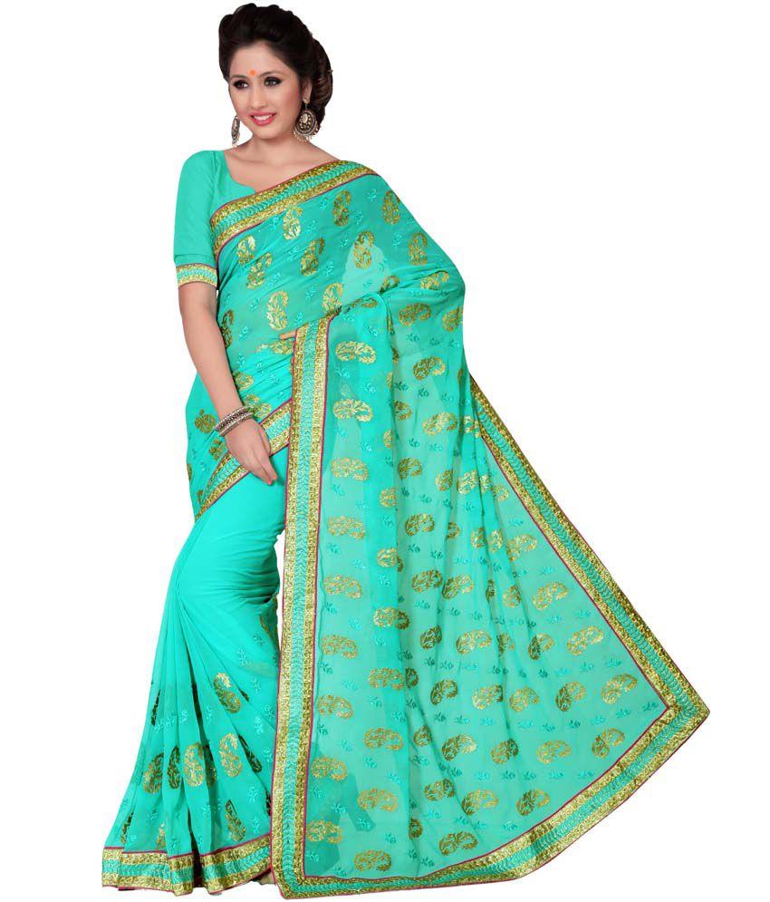 Suchi Fashion Turquoise Faux Chiffon Saree