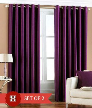 HomeZaara Set Of 2 Window Eyelet Curtains Solid Multi Color