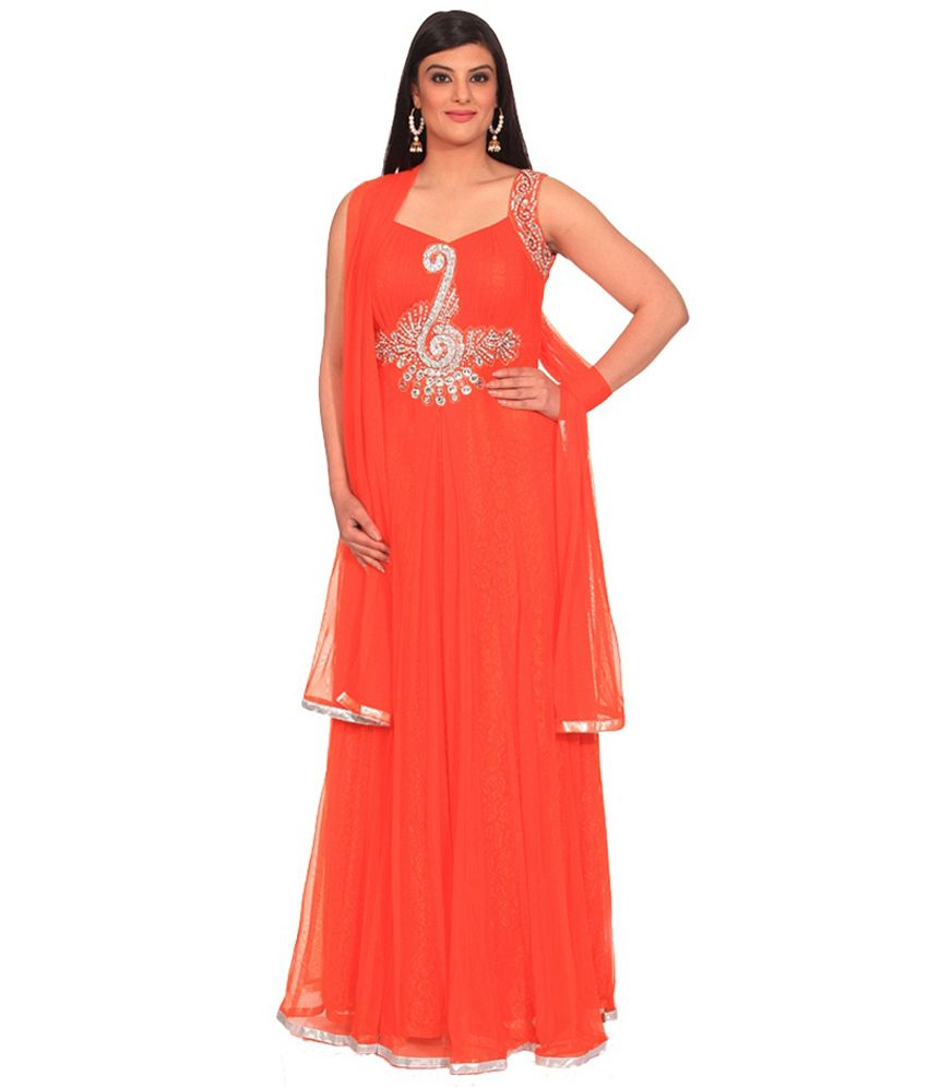 Chandni Chowk Deigner Hand Stone Embroidery Partywear Gown with Dupatta