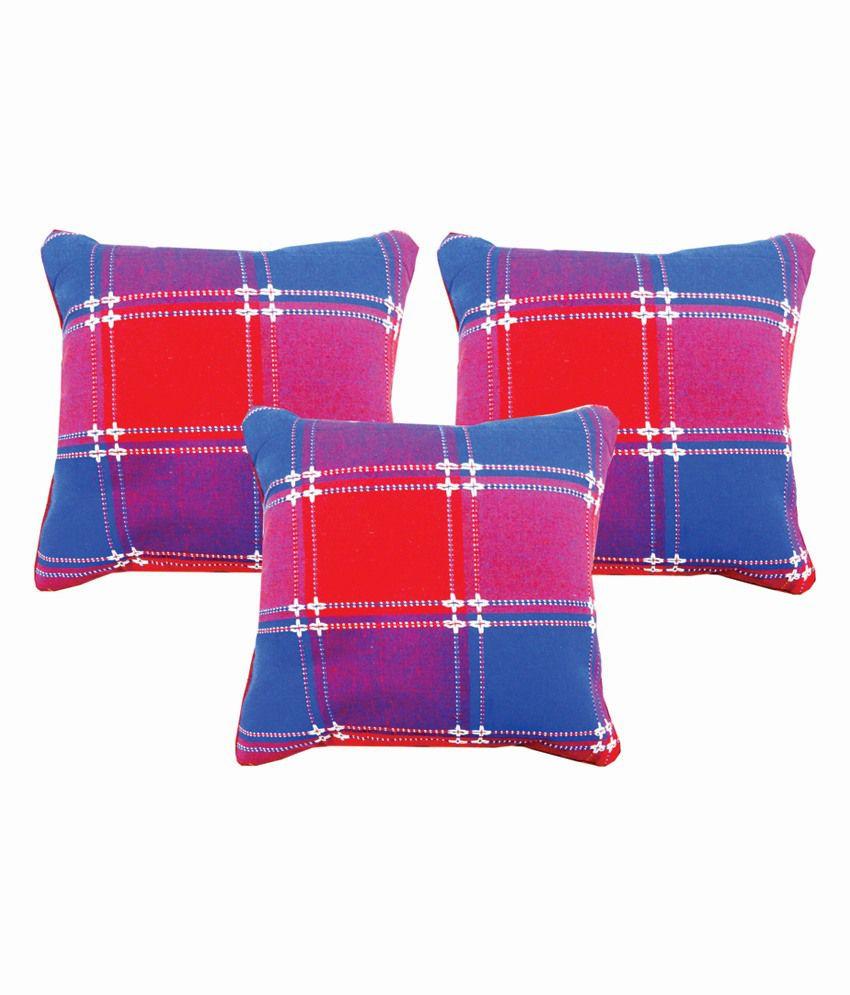 Dream Care Multicolour Cotton Checks Designer Cushion Cover - Set of 3Pcs