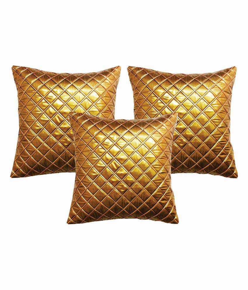Dream Care Multicolour Silk Checks Designer Cushion Cover - Set of 3Pcs