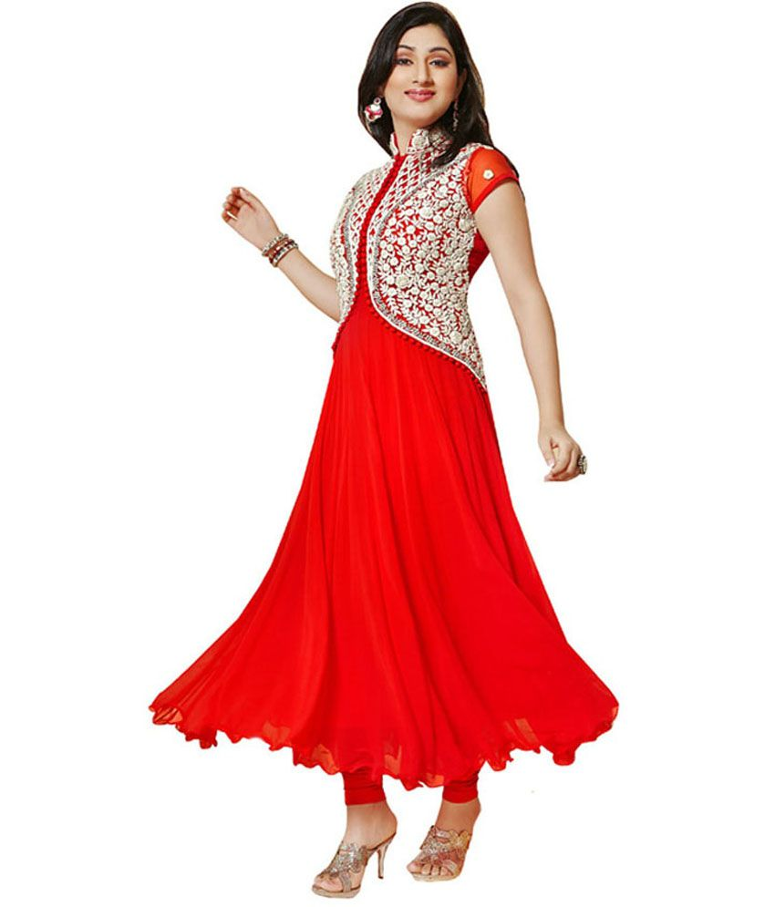 b519b7a9a6 Fashion Store Red Faux Georgette Unstitched Dress Material - Buy Fashion  Store Red Faux Georgette Unstitched Dress Material Online at Best Prices in  India ...