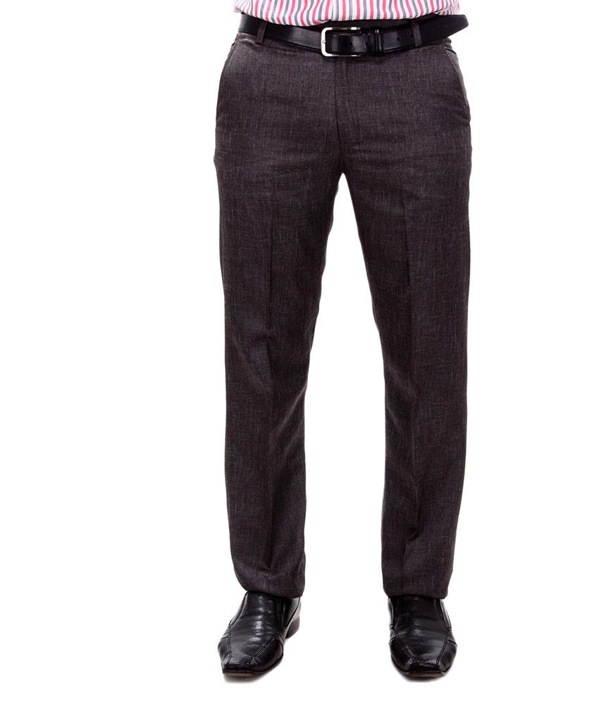 Syntel Internatonal Brown Cotton Slim Fit Formal