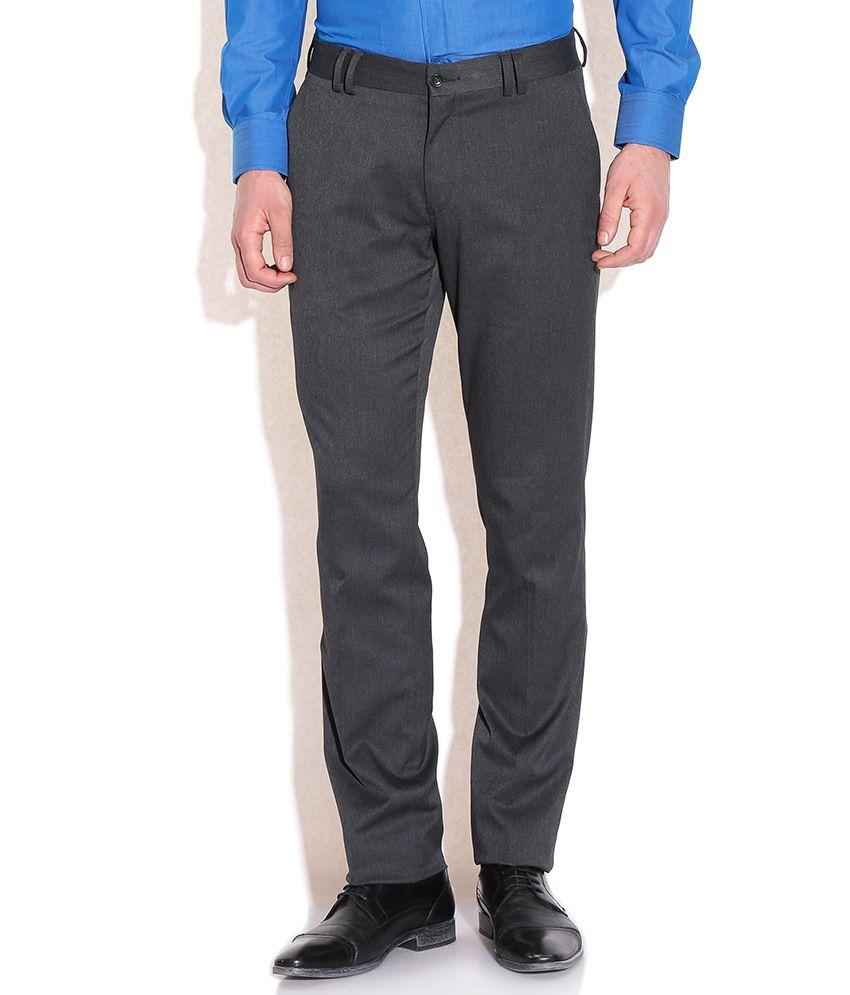Wills Lifestyle Black Cotton Blend Formals Trouser