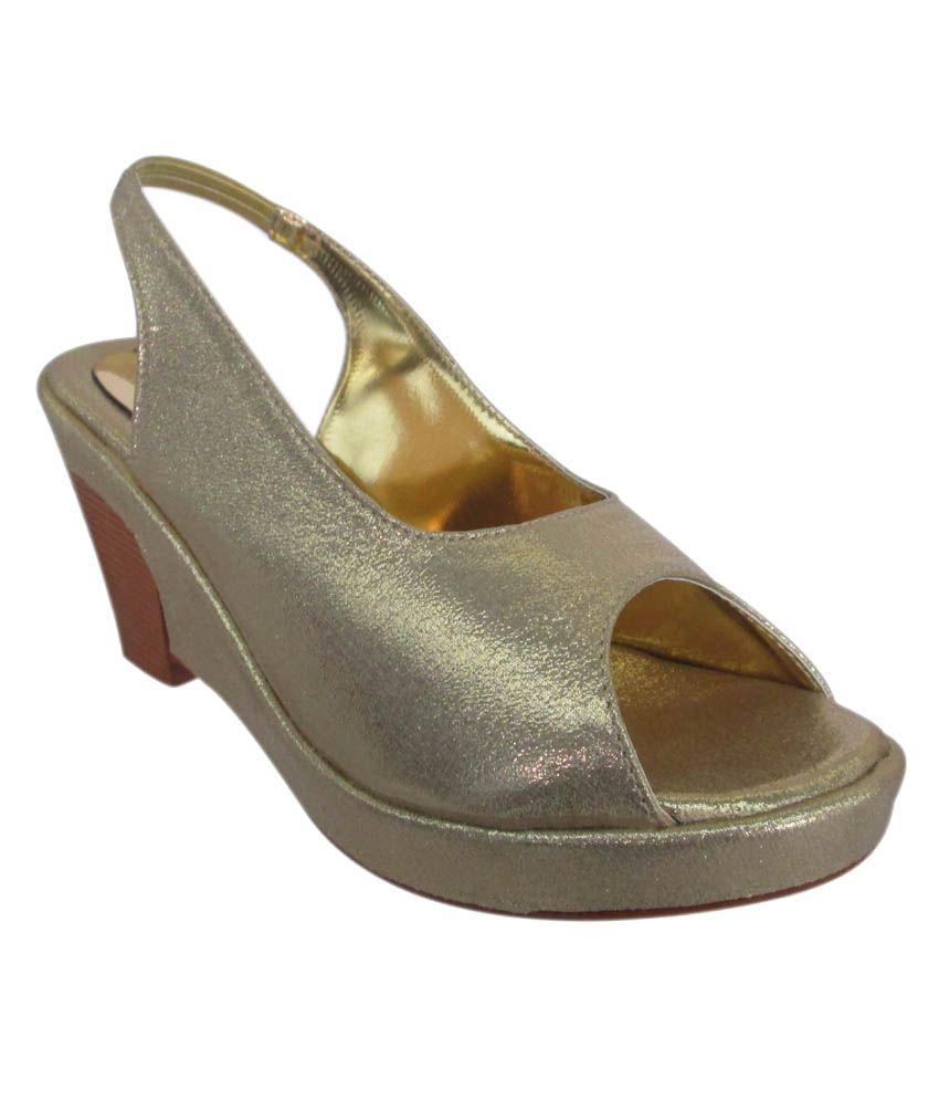 High Heels Gold Satin Women's Sandals