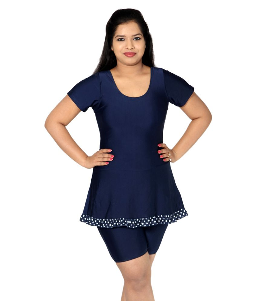 Indraprastha Navy Blue Swimsuit With Extended Shorts/ Swimming Costume