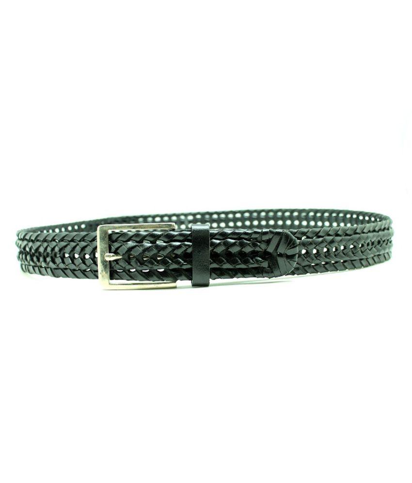 Urban Vintage Black Braided Leather Belt