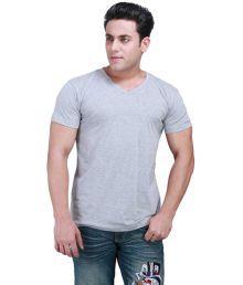 EEL In Black Cotton Half Sleeves V-Neck T-Shirt For Men
