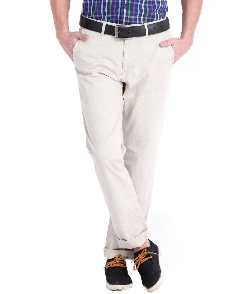 Black Coffee White Cotton Blend Slim Casual Men Trouser Slim Fit