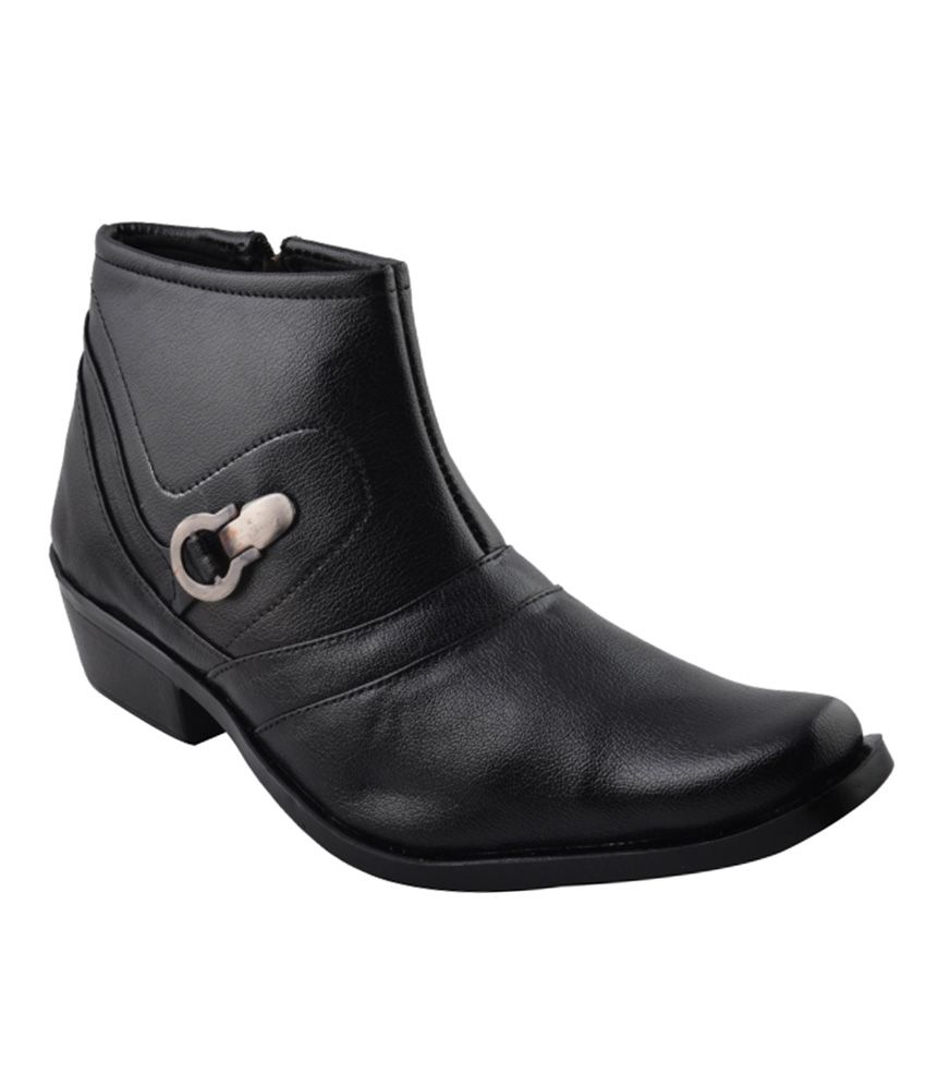 Real Blue Black Leather Boot