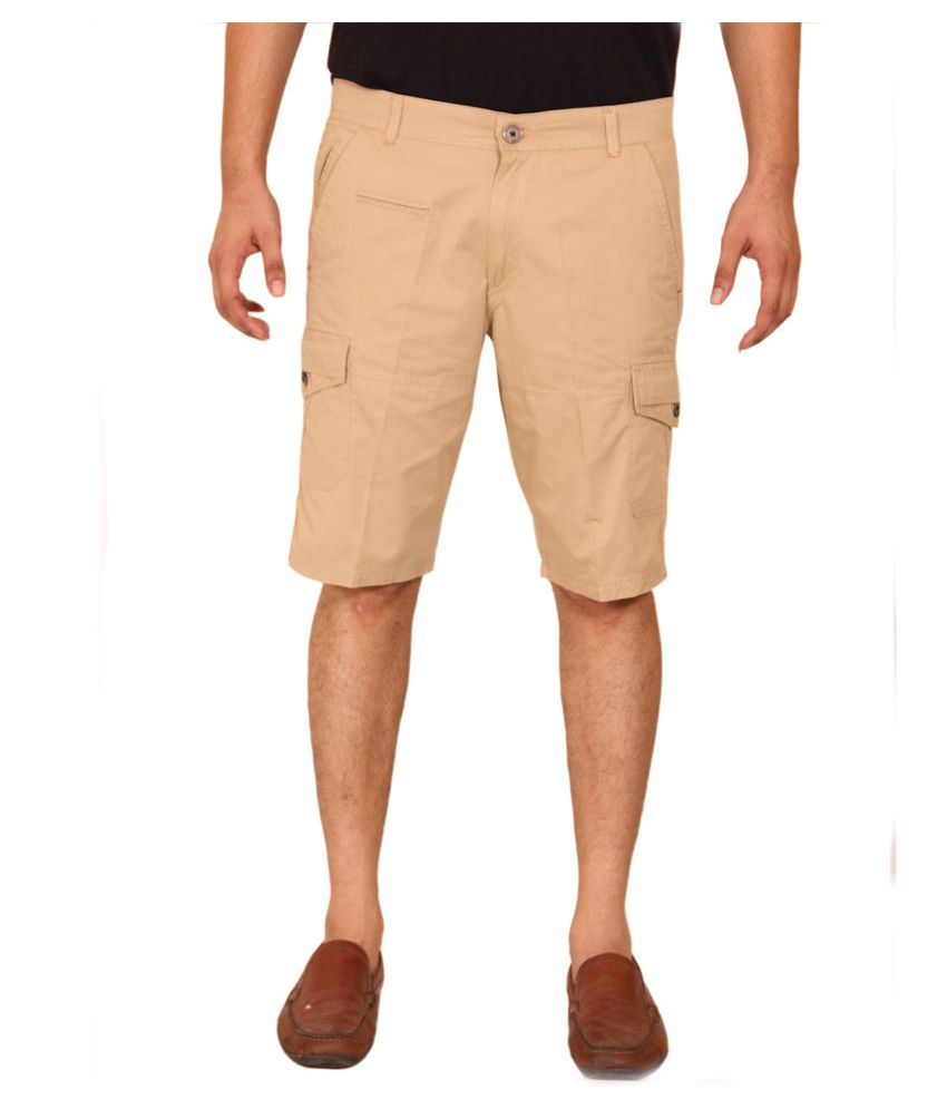 Clickroo Brown Chino Shorts With Flap Pockets