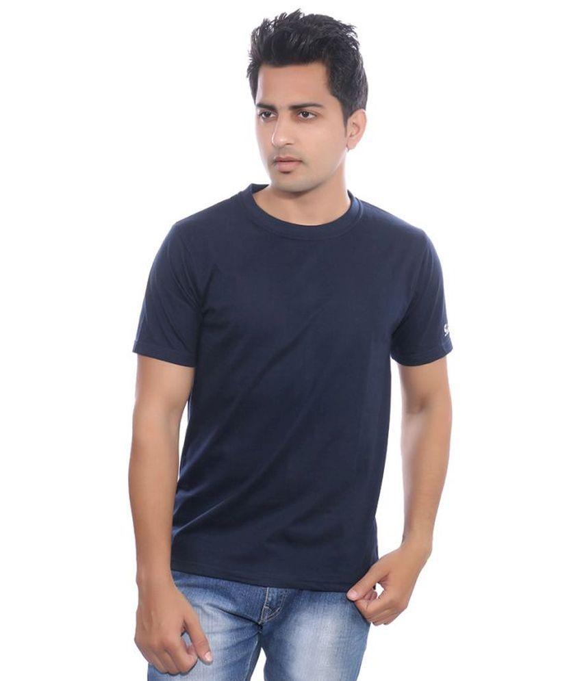 Fabilano Navy Cotton Basics Round Neck Half T Shirt