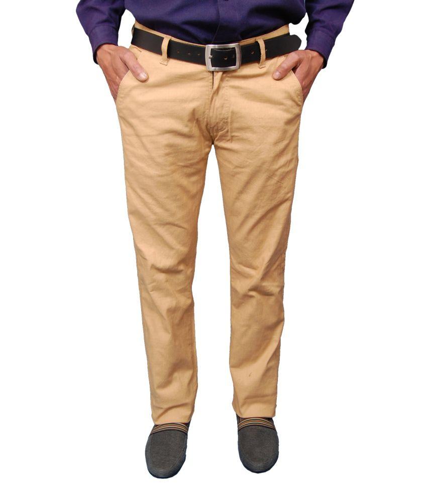 Fashion n style Khaki Cotton blend Comfort 36 Flat Casuals Trousers