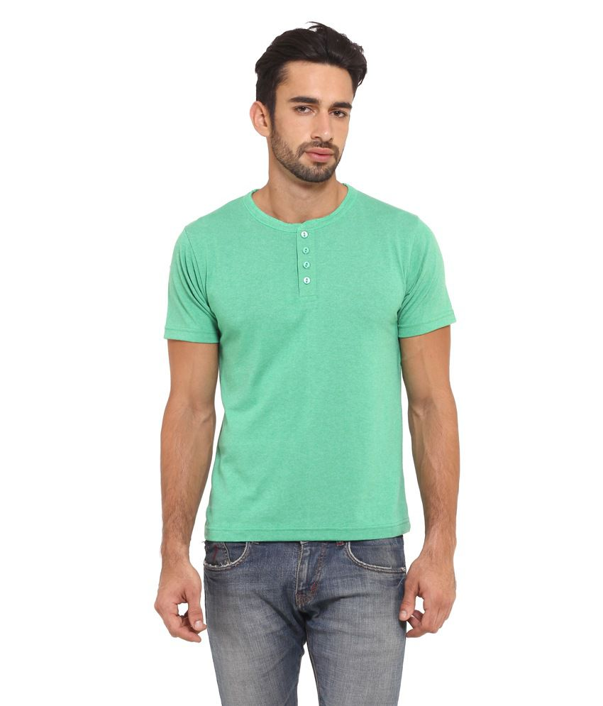 I-VOC Men's Green Cotton Henley T-Shirt