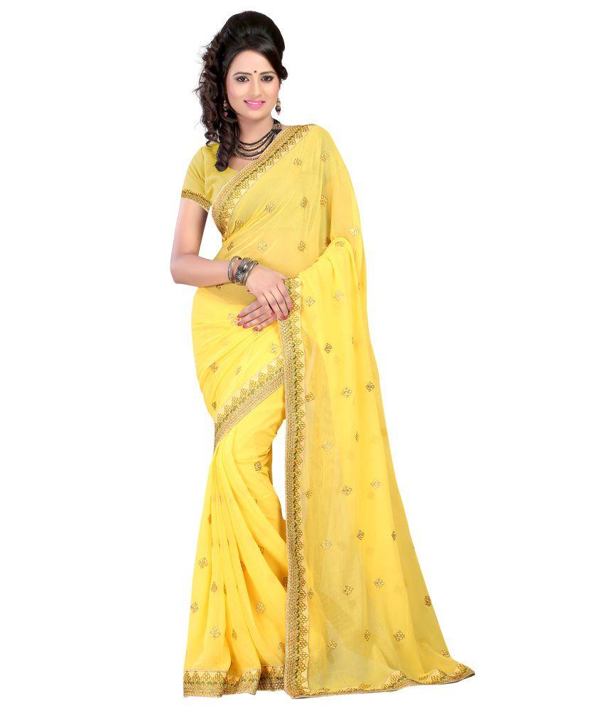Kartik Creation Yellow Chiffon Saree
