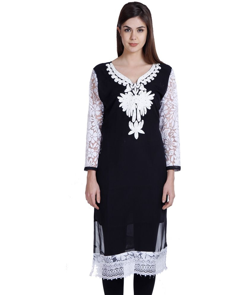 Muxyn Black Pure Georgette Embroidered Long Kurti