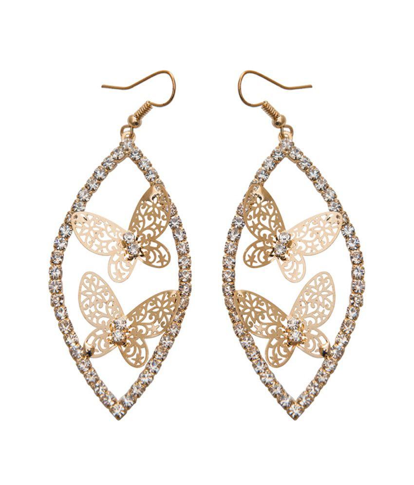 Taj Pearl Stylish Erfly Gold Color Earrings