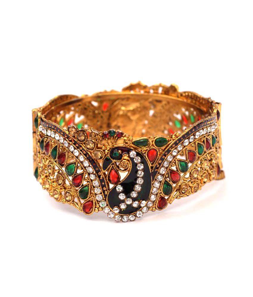 Engagement & Wedding Honey Goldtone 2pc Kada Bangle Set Design Bracelets Indian Wedding Party Jewellery 2*6