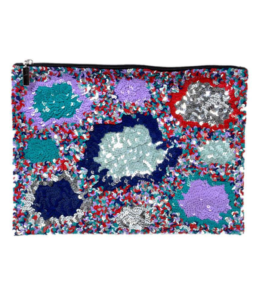 Diwaah Multi sequence beautiful hand pouch for women.