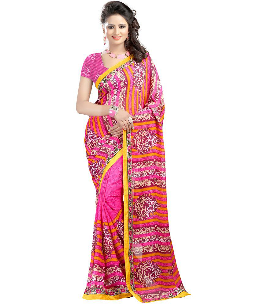 JK BROTHERS Pink Faux Georgette Saree