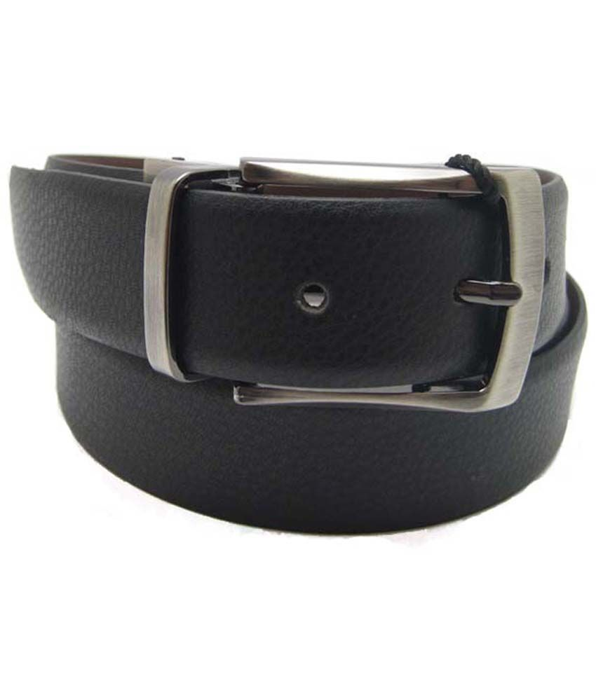 Lustre International Genuine Leather Black And Brown Reversible Belt For Men