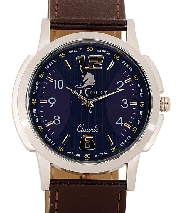 Beaufort Contemporary Blue Round Dial Watch