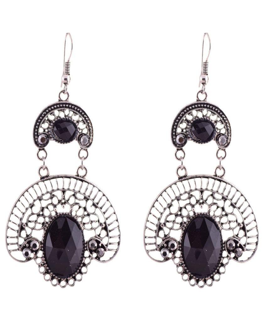 Ganapathy Gems Black Hanging Dangle earrings