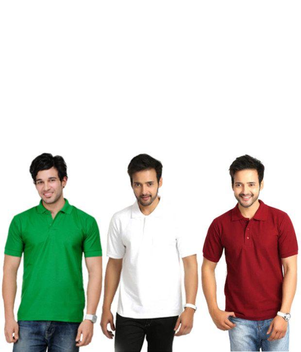 KeepSake Maroon. Green And White Polo T-shirt Combo (Set Of 3)
