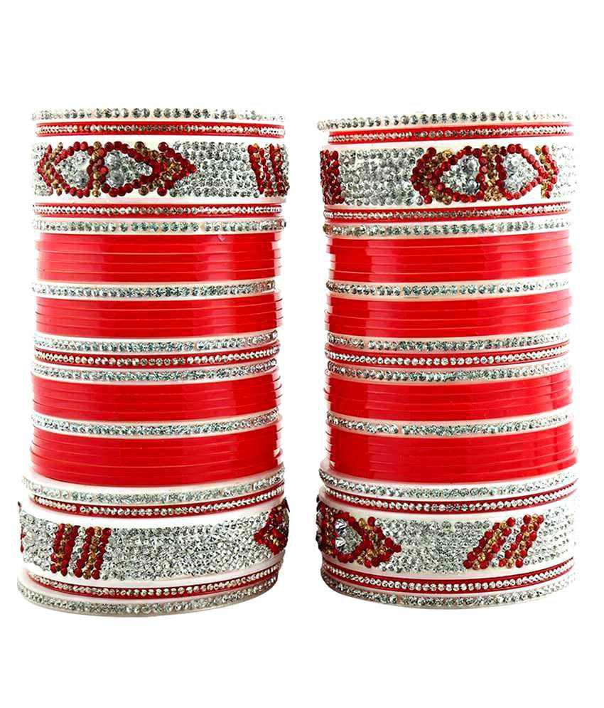 Lucky Jewellery Red Acrylic Bridal Chudas