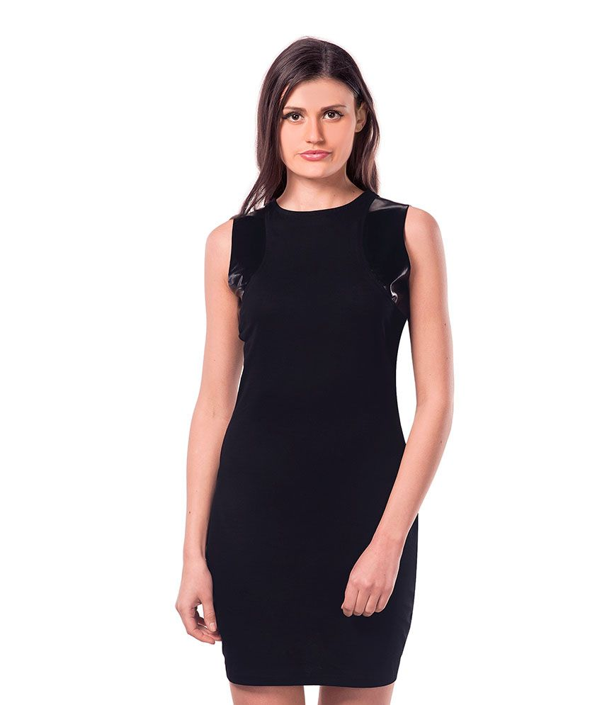 Miss Chase Cotton Black Bodycon Dress