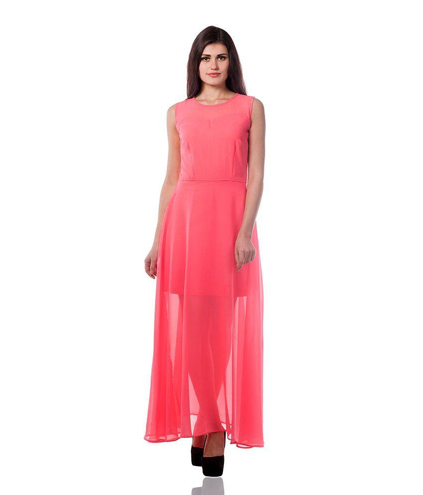 Miss Chase Georgette Orange Dresses