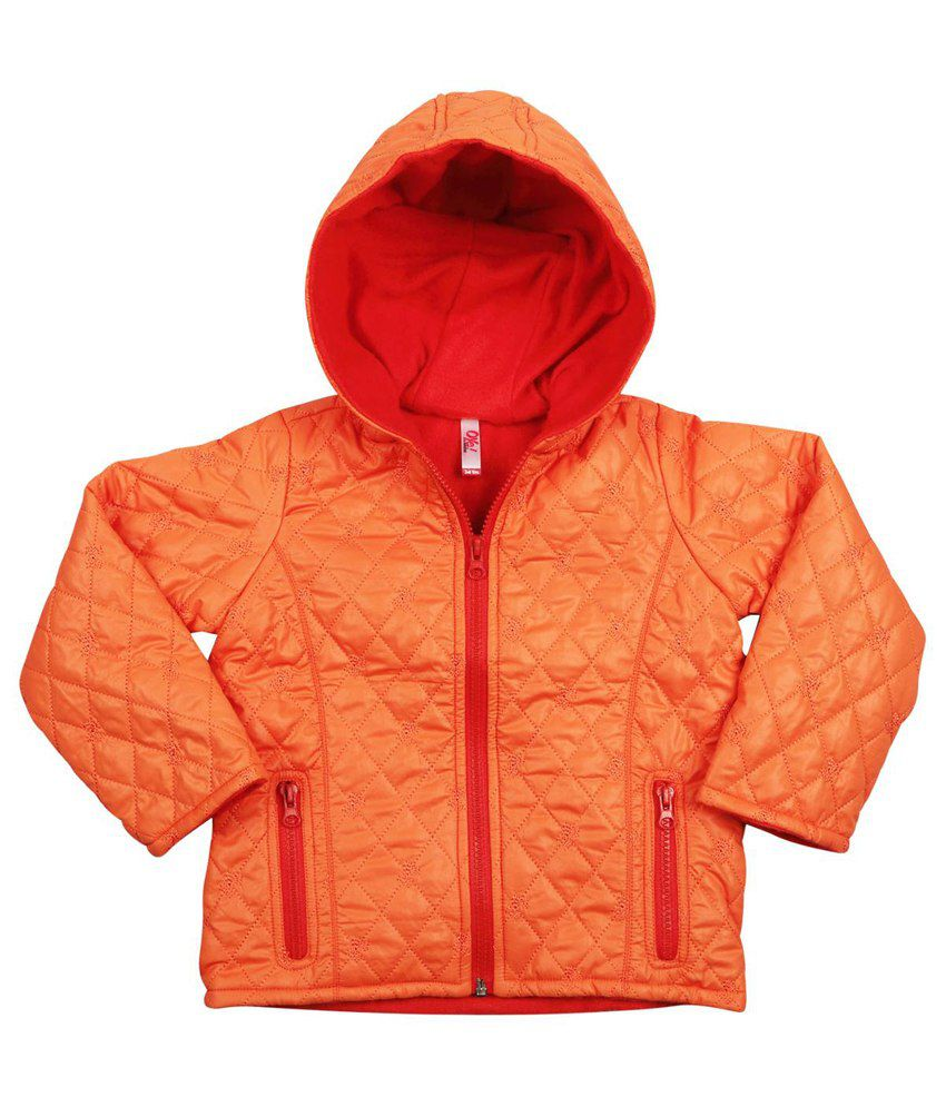 Oye Orange Synthetic Padded Jacket With Hood