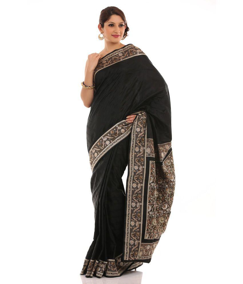Chhabra 555 Black Hand Woven Satin Saree With Blouse Piece