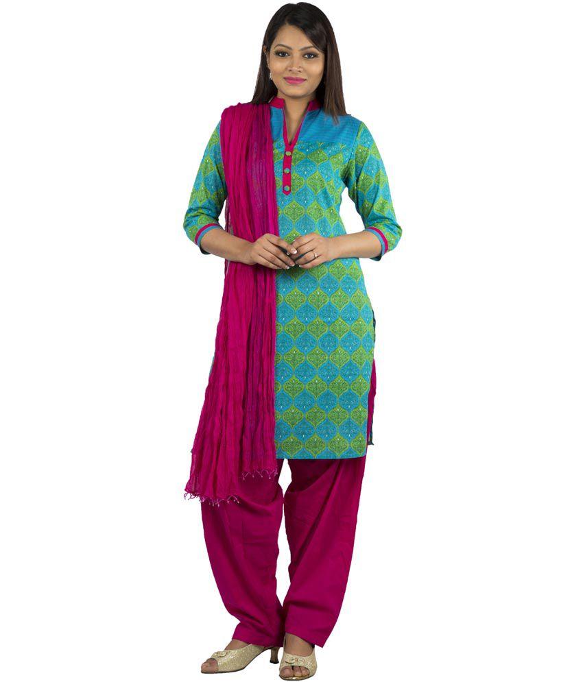 Jaipur Kurti Pure Cotton Blue Salwar Suit and Fuchsia Patiala Duptta
